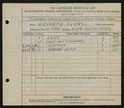 Entry card for Elwell, Kenneth for the 1935 May Show.