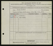 Entry card for Estep, Jane for the 1935 May Show.