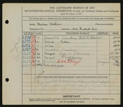 Entry card for Winter, Thelma Frazier for the 1935 May Show.