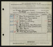 Entry card for Gaertner, Carl Frederick for the 1935 May Show.