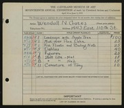 Entry card for Gates, Wendall N. for the 1935 May Show.