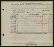 Entry card for Geisler, Frederic William for the 1935 May Show.