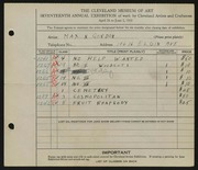 Entry card for Gordon, Max N. for the 1935 May Show.
