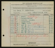 Entry card for Greitzer, Jack J. for the 1935 May Show.