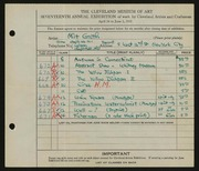 Entry card for Groth, Milt for the 1935 May Show.