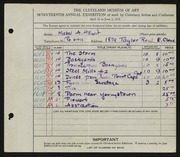 Entry card for Hewit, Mabel A. for the 1935 May Show.