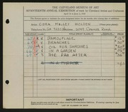 Entry card for Holden, Cora for the 1935 May Show.