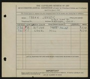 Entry card for Janezic, Frank for the 1935 May Show.