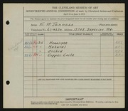 Entry card for Jenness, E. H. for the 1935 May Show.