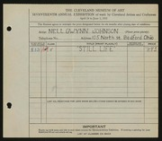Entry card for Johnson, Nell Gwynn for the 1935 May Show.