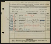 Entry card for Kaufman, Edwin for the 1935 May Show.