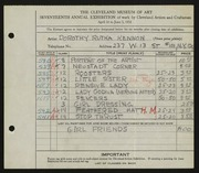 Entry card for Rutka, Dorothy for the 1935 May Show.