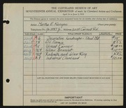 Entry card for Kenyon, Martha E. for the 1935 May Show.