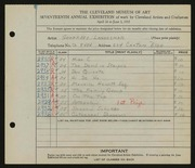 Entry card for Landesman, Geoffrey, and Caxton Company for the 1935 May Show.