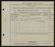 Entry card for Lange, Katharine Gruener for the 1935 May Show.