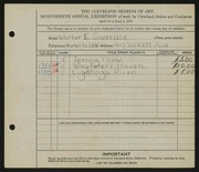 Entry card for Lawrence, Walter E. for the 1935 May Show.
