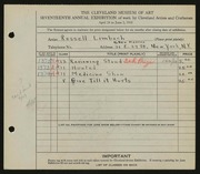 Entry card for Limbach, Russell T. for the 1935 May Show.