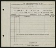 Entry card for Loesser, Jean B. for the 1935 May Show.