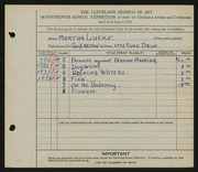 Entry card for Lueke, Matha for the 1935 May Show.