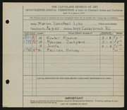 Entry card for Bonsteel, Marion E. for the 1935 May Show.