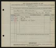 Entry card for Mandelker, Martha for the 1935 May Show.
