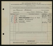 Entry card for Marker, Thomas for the 1935 May Show.
