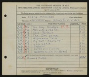 Entry card for McClean, Clara for the 1935 May Show.