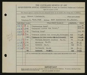 Entry card for McDonald, Edward Dixon for the 1935 May Show.