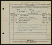 Entry card for McVey, William Mozart for the 1935 May Show.