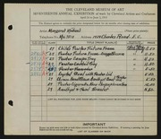 Entry card for Michael, Margaret for the 1935 May Show.