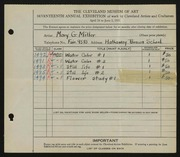 Entry card for Miller, Mary G. for the 1935 May Show.