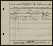 Entry card for Minch, Richard for the 1935 May Show.