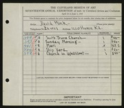 Entry card for Mink, David for the 1935 May Show.