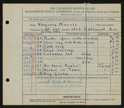 Entry card for Morris, Virginia, and Duval, Albert D. for the 1935 May Show.