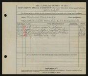 Entry card for Mroczko, Michael for the 1935 May Show.