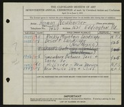 Entry card for Newhauser, Herman for the 1935 May Show.