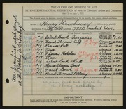 Entry card for Newhouse, Henry, and Pottery Workshop for the 1935 May Show.