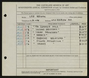 Entry card for Nowak, Leo for the 1935 May Show.