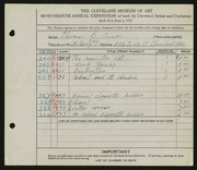 Entry card for Owens, Thomas B. for the 1935 May Show.