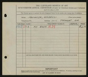 Entry card for Paliwoda, Ambrozi for the 1935 May Show.