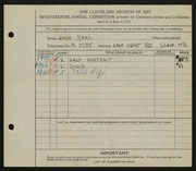 Entry card for Reed, Jane Carol for the 1935 May Show.