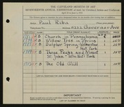 Entry card for Riba, Paul for the 1935 May Show.