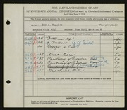 Entry card for Ruggles, E. A. (Edd Alvah) for the 1935 May Show.