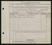 Entry card for Rumsey, Janet Eggleston for the 1935 May Show.
