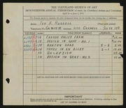 Entry card for Russell, Frederick K. for the 1935 May Show.