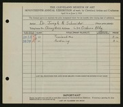 Entry card for Schneider, Dr. Joseph N. for the 1935 May Show.