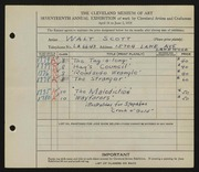 Entry card for Scott, Walter E. for the 1935 May Show.