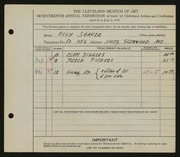 Entry card for Seaver, Hugh for the 1935 May Show.