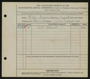 Entry card for Segner, Wesley William for the 1935 May Show.