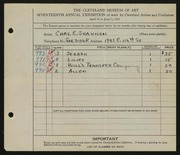 Entry card for Shannon, Charles for the 1935 May Show.